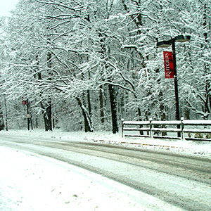 Road on Rutgers campus during winter.